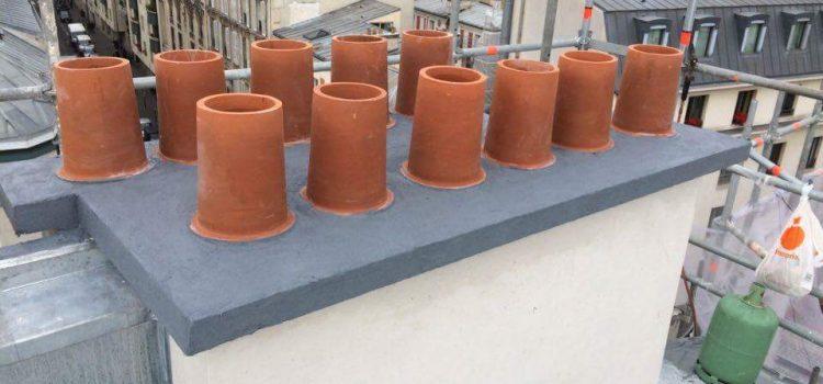 Rénovation des souches de cheminées sur les toit de Paris